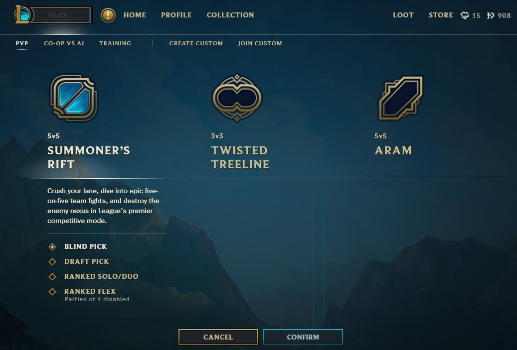 League of Legends Game Type Select